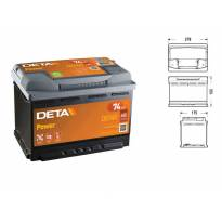 Акумулатор Deta Power 74Ah 680 A с десен (+)