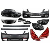 AMG пакет тип S63 за Mercedes S W222 2013-2017 с фарове, стопове, решетка, прагове за дълга база