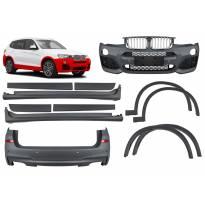 M пакет за BMW X3 F25 2014-2017 с двоен дифузьор за двоен накрайник -oo--oo-