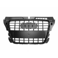 Черен лак решетка тип S8 за Audi A3 2009-2011 без отвори за парктроник