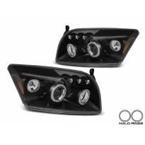 Комплект тунинг фарове с ангелски очи за Dodge Caliber 2006-2012 с черна основа, ляв и десен