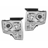 Комплект тунинг фарове с халогенни ангелски очи за Ford F150 2008-2014 с хром основа, ляв и десен
