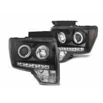 Комплект тунинг фарове с халогенни ангелски очи за Ford F150 2008-2014 с черна основа, ляв и десен