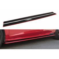 Добавки Maxton Design за прагове версия 3 за Seat Leon Mk3 Cupra, FR след 2017 година, цвят карбон с червена линия