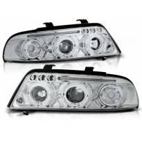 Комплект тунинг фарове с халогенни ангелски очи за Audi A4 B5 01.1999-09.2000 седан/комби , ляв и десен