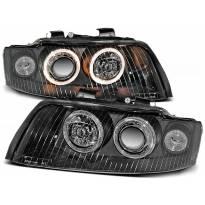 Комплект тунинг фарове с халогенни ангелски очи за Audi A4 B6 10.2000-10.2004 седан/комби , ляв и десен