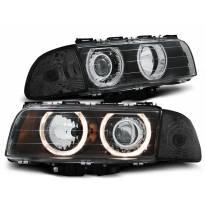 Комплект тунинг фарове с халогенни ангелски очи за BMW 7 E38 6.1994 - 8.1998 , ляв и десен