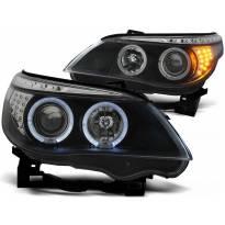 Комплект тунинг фарове с халогенни ангелски очи за BMW E60/E61 2003-2007 , ляв и десен