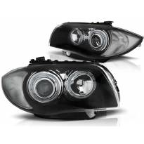 Комплект тунинг фарове с LED ангелски очи за BMW 1 E81 2004-2011/ E82 2007-2011/ E87 2004-2011/ E88 2007-2013 , ляв и десен