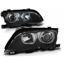 Комплект тунинг фарове с LED ангелски очи за BMW 3 E46 09.2001-03.2005 седан/комби , ляв и десен