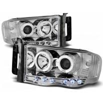 Комплект тунинг фарове с халогенни ангелски очи за Dodge RAM 2002-2006 , ляв и десен