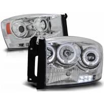 Комплект тунинг фарове с халогенни ангелски очи за Dodge RAM 2006-2008 , ляв и десен