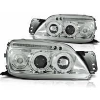 Комплект тунинг фарове с халогенни ангелски очи за Ford FIESTA MK5 09.1999-04.2002 , ляв и десен