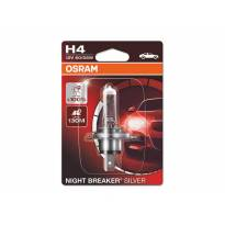 Халогенна крушка Osram H4 Night Breaker Silver 12V, 60/55W, P43t, 1650/1000lm, 1 брой в блистер