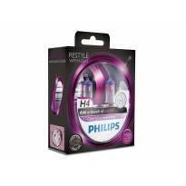 Комплект 2 броя халогенни крушки Philips H4 Color Vision12V, 60/55W, P43T-38, Лилави