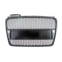 Черен мат решетка без емблема тип RS за Audi A4 B7 седан, комби 2004-2007 с отвори за парктроник