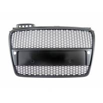 Черна решетка без емблема тип RS за Audi A4 2004-2008 с отвори за парктроник