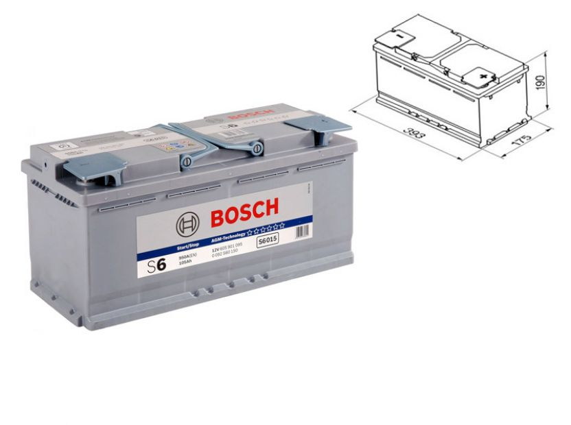 Акумулатор BOSCH AGM-technology S6 12V 105Ah 950 A с десен (+)