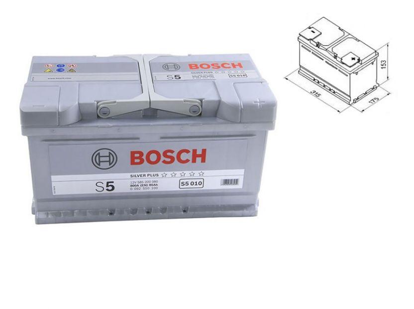Акумулатор BOSCH Silver Plus S5 12V 85Ah 800 A с десен (+)