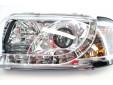 Тунинг фарове с дневни светлини и лупи за Audi A3 1996-2000 с хром основа 6