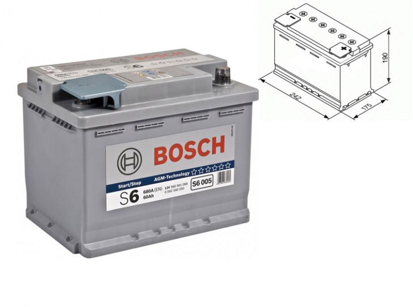 Акумулатор BOSCH AGM-technology S6 12V 60Ah 680 A с десен (+)