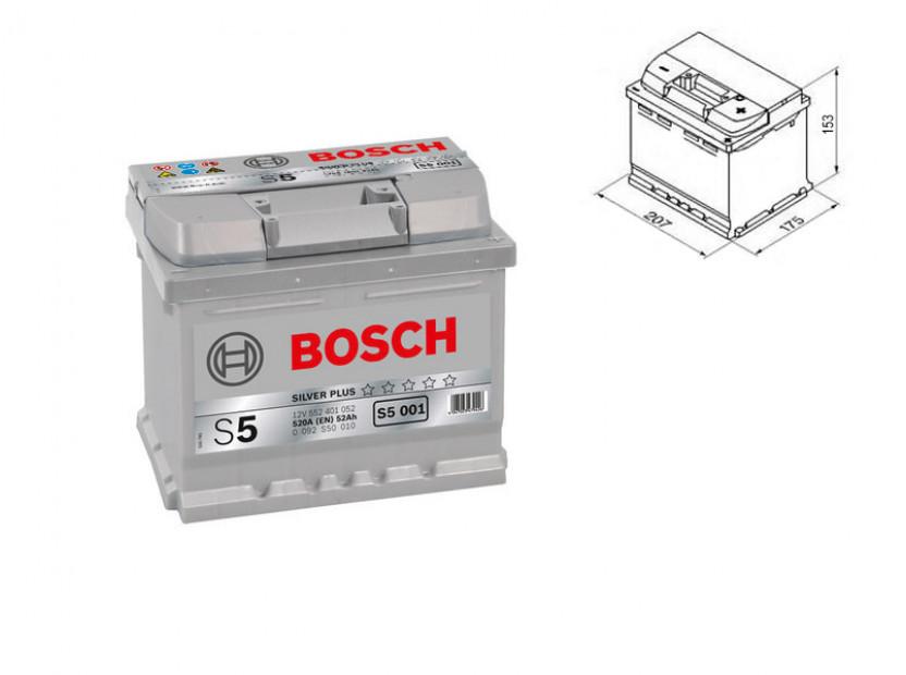 Акумулатор BOSCH Silver S5 12V 52Ah 520 A с десен (+)