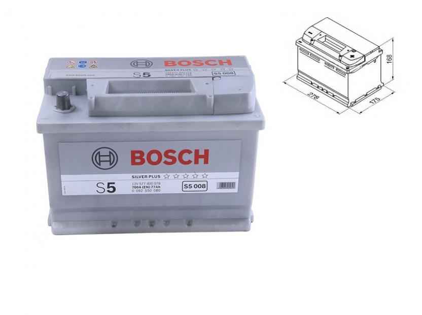 Акумулатор BOSCH Silver Plus S5 12V 77Ah 780 A с десен (+)