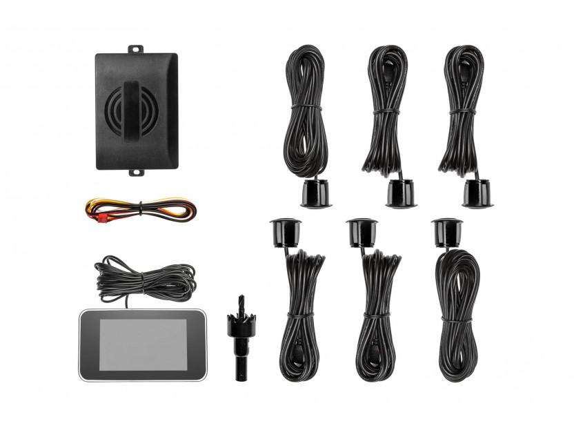 Парктроник система с 2,5 инча двоен LCD дисплей с 6 черни датчика