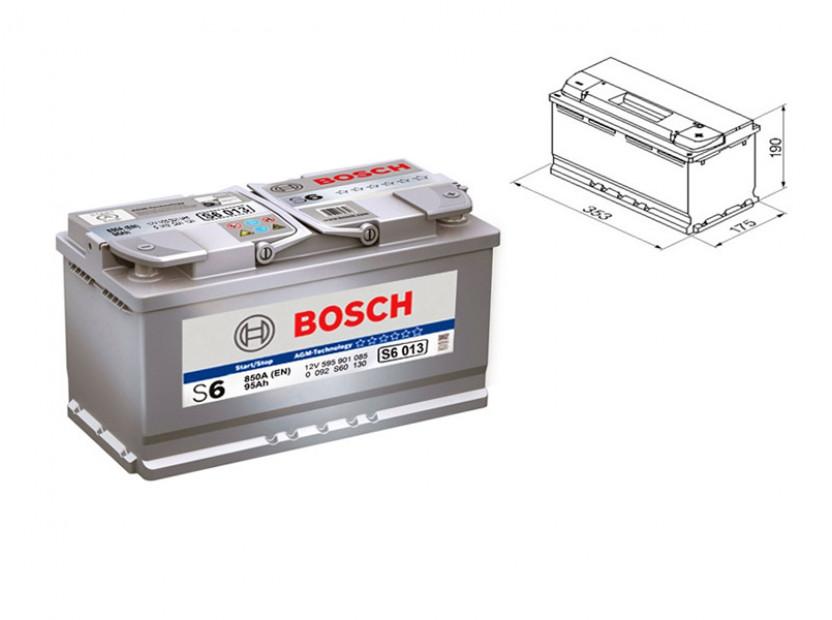Акумулатор BOSCH AGM-technology S6 12V 95Ah 850 A с десен (+)
