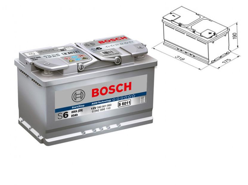 Акумулатор BOSCH AGM-technology S6 12V 80Ah 800 A с десен (+)