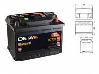Акумулатор Deta Standard 70Ah 640 A с десен (+)