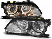 Комплект тунинг фарове с халогенни ангелски очи за BMW 3 E46 09.2001-03.2005 седан/комби , ляв и десен