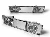 Комплект тунинг LED мигачи в бронята за VW Golf III 1991-1997/Vento 1992-1998 с хром основа ляв + десен