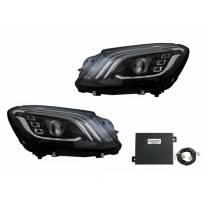Комплект тунинг LED фарове за Mercedes S класа W222 след 2013 година с черна основа , ляв и десен